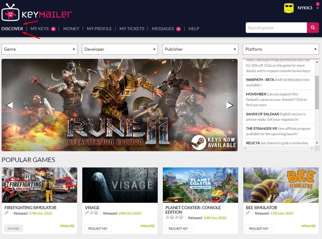 Keymailer Homepage Giochi
