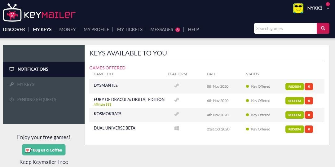 Keymailer Key Pending